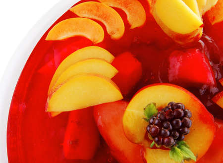 gelatine: sweet cold red jelly pie with peach