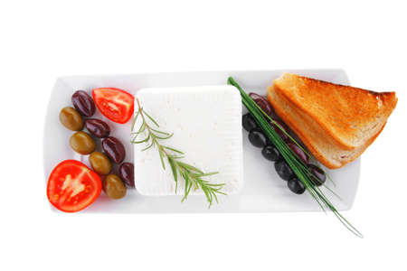image of soft feta cube and bread toast on plate Stock Photo - 17071587