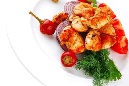 image of chicken brisket chunks on vegetables Stock Photo - 17071982