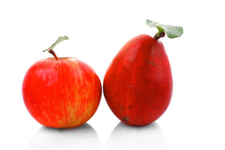 red pear and apple isolated over white background photo