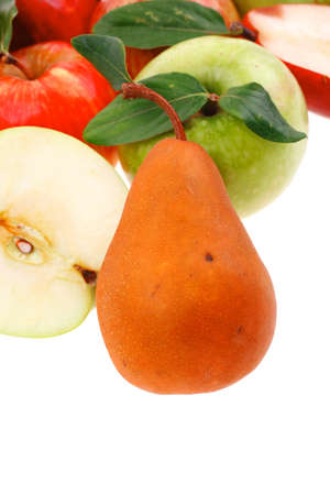 gold pear with green and red apple with half isolated over white background Stock Photo - 17460415