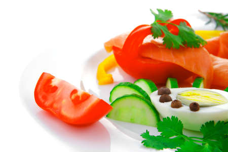 image of salmon slices and vegetables with eggs Stock Photo - 17460216