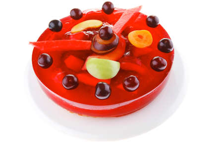 sweet cold red jelly cake with cherry and watermelon Stock Photo - 17460189