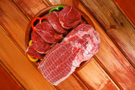 red meat on wooden table ready to cook Stock Photo - 17467897