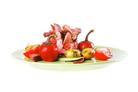 beef meat slices on green dish over white photo