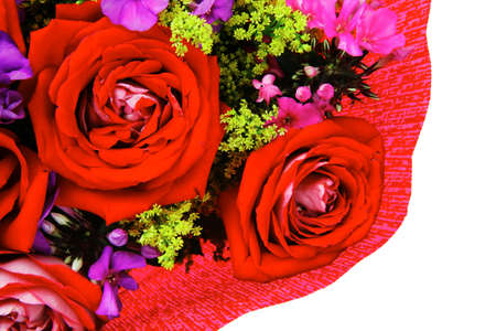 flowers : big bouquet of rose and pansy flowers with green grass in red wrapping papper isolated over white background