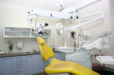 dental clinic interior design with chair and tools Standard-Bild