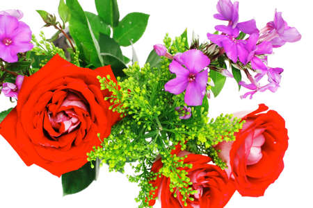 flowers : bouquet of rose and pansy flowers with green grass isolated over white background Stock Photo - 19395108