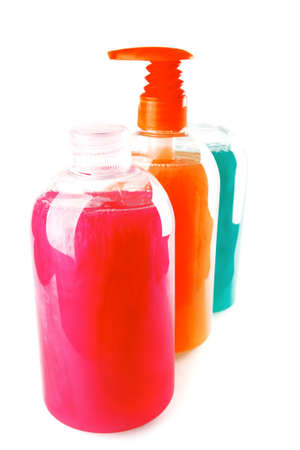 liquid soap: set of many clean soap over white background