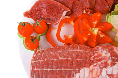 ready to cook food: meat chop with slices over white plate