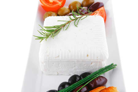 image of toast and vegetables with soft feta cheese photo