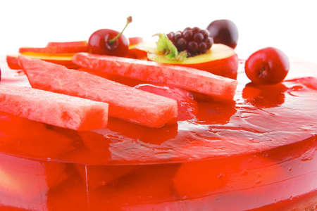 image of cold red jelly pie with apricot and watermelon photo