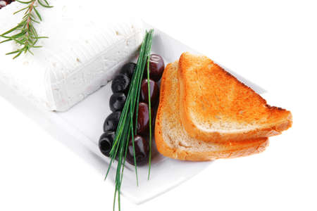 image of soft feta cube and bread toast on plate Stock Photo - 21271327