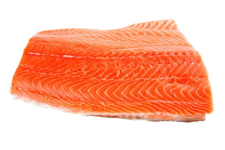 fresh uncooked red fish fillet over white photo