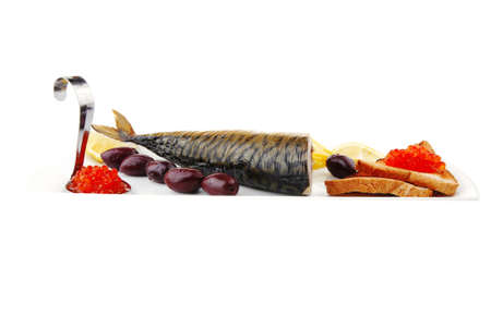 red caviar on toast and sea fish photo