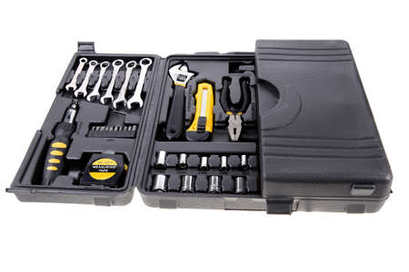 toolbox set of tools include hammer wrench bit driver pliers hex key bush level hex key photo