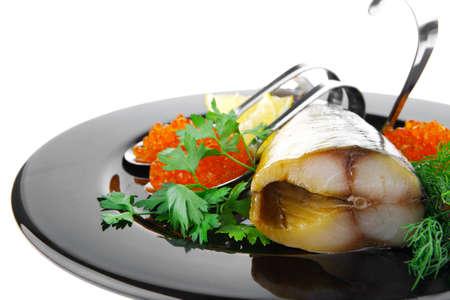 plato del buen comer: ahumado de pescado con caviar rojo de placa negra