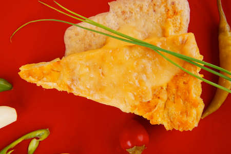 food : cheese casserole piece on red plate served with garlic , chives and tomatoes isolated over white photo