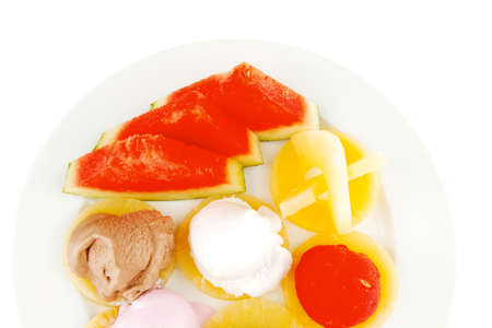 brylle: big plate with mix fruits and ice cream
