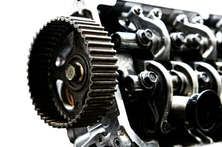 car tuning: car engine inside view isolated over white