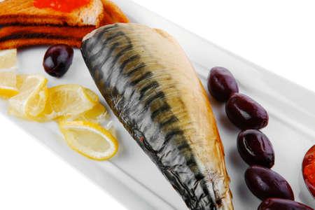 fresh fat fish and caviar on toast photo