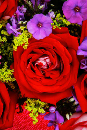 botan: flowers : big bouquet of rose and pansy flowers with green grass in red wrapping papper