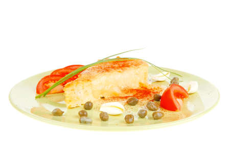 food : vegetable casserole piece over green plate served with chives and tomatoes isolated over white photo