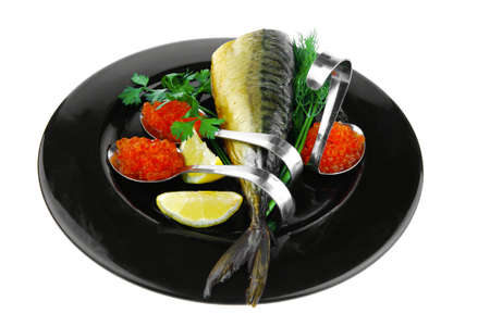 image of smoked fish served with salmon red caviar photo
