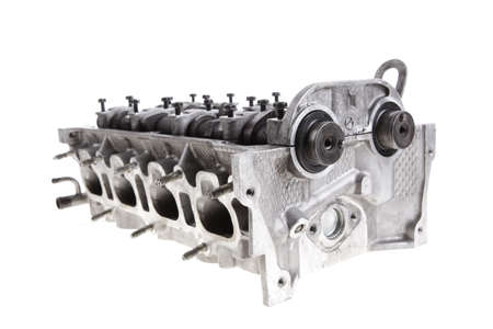 real used car motor head engine four cylinder isolated over white background photo