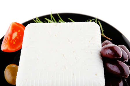 image of soft feta cheese on black photo