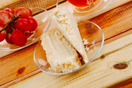 cake dessert and tea on wooden table photo