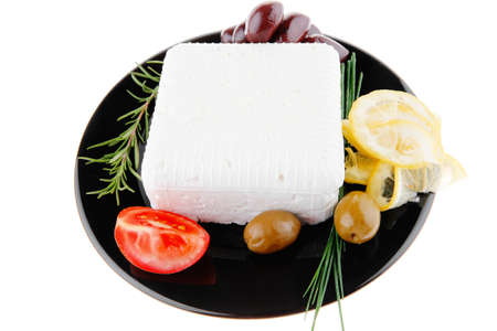 image of rare olives and feta cube photo