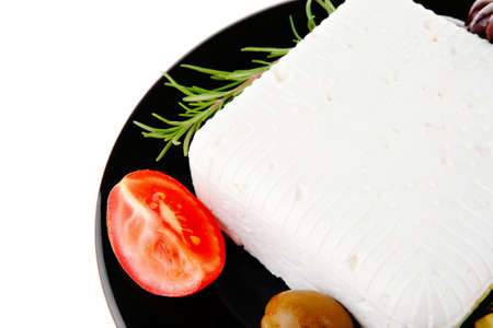 mediterranian: image of soft feta cheese on black