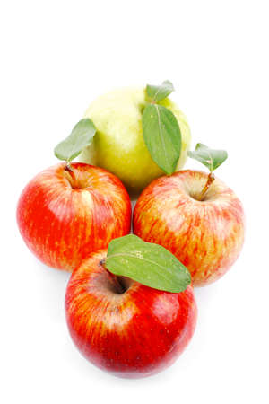 group of red and green fresh ripe apples isolated over white background photo