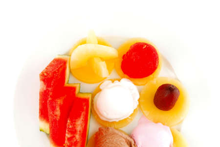 brylle: watermelon plum and slice of pineapple and chocolate and fruit ice cream on white plate isolated over white