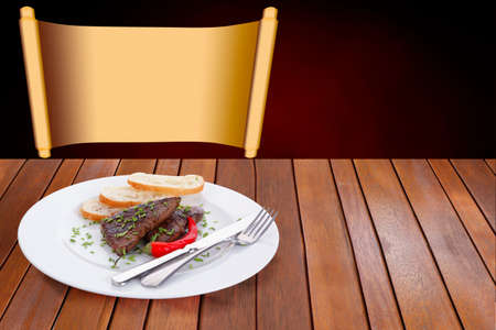 fresh hot grilled beef meat steak served with red hot pepper and white bun slices on plate over wooden table photo