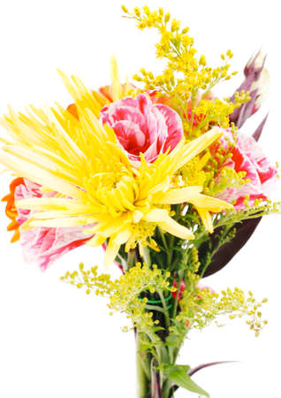 red and orange gerbera, tuberose and gold mums flowers bouquet isolated on a pure white background photo