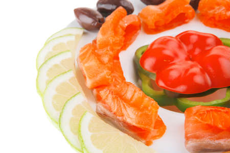 red smoked salmon slice served on white photo