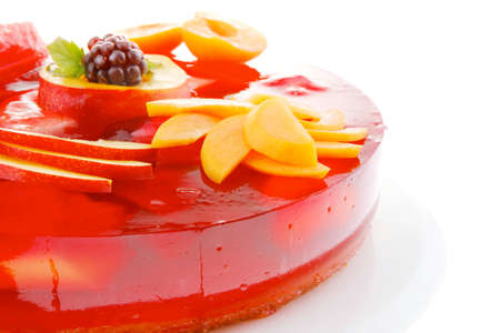 gelatine: cold red jelly cake with peach and nectarine