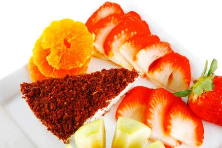 custard slice: cream cake, raw apple, and strawberry on plate