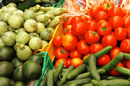 different vegetables on market photo
