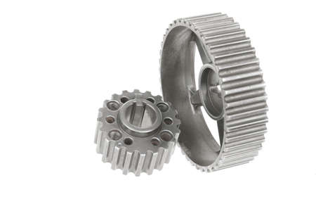 torque: real stainless steel gears isolated over white background