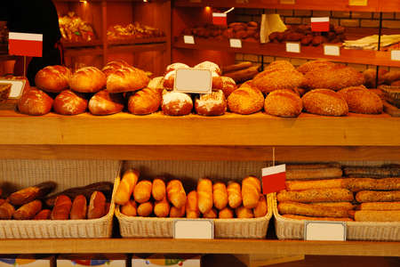baked buns on market photo