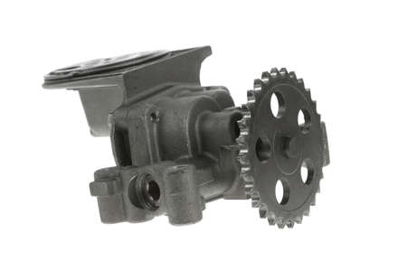 shafts: real used motor steel gear transmission parts isolated on white