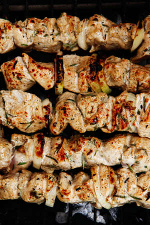 brazier: healthy shish kebab - ready grill barbecue chicken turkish meat on skewers over charcoal brazier outdoor