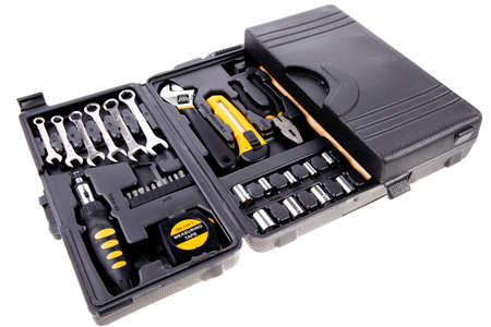 include: toolbox set of tools include hammer wrench bit driver pliers hex key bush level hex key