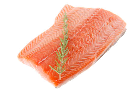 raw salmon fillet isolated with rosemary over white photo