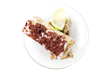 fresh light sweet pastry and lemon slice photo