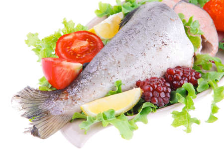 image of baked salmon with salad and pomegranate