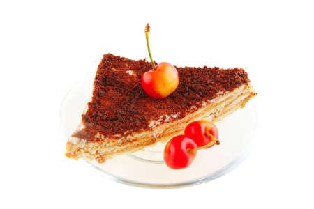fresh cherry and cheese cake on transparent dish photo